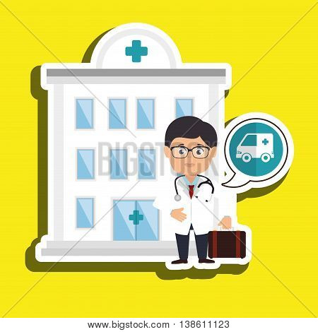 healthcare and doctor medical icon isolated, vector illustration