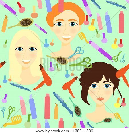 Seamless Pattern With Girls, Comb, Nail, Hair Styler On A Green Background. Vector Illustration