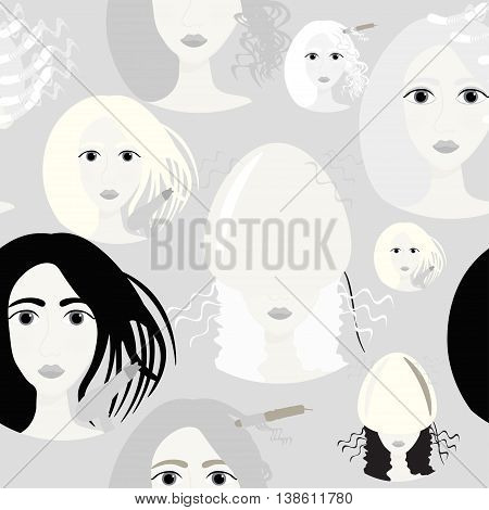 Seamless Graphic Pattern Of Girls For A Beauty Salon And Barber Shop. Vector Illustration