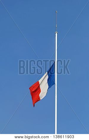 French Flag Half Staff Mouring at Flagpole