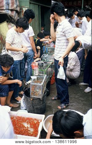 GUANGZHOU / CHINA - CIRCA 1987: People buy pet goldfish (Carassius auratus) at the Qingping Market in Guangzhou.