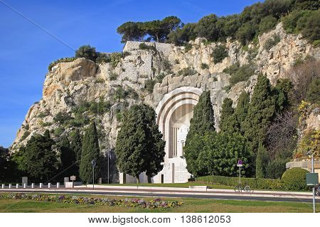 War Memorial in Side of the Hill in Nice