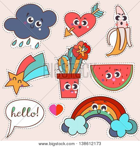 Set cartoon patch badges or fashion pin badges.Cloud, rainbow, cactus, star, water-melon, banana, heart, arrow, love hand drawn vector full color sketch.
