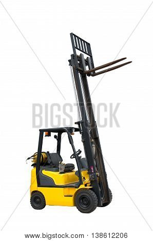Forklift freight. Loading machine. Material handling machine driven by an internal combustion engine for providing inter-factory transportation.