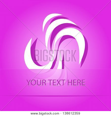 unique abstract forms. Paper purple sticker as bookmark. Vector illustration.