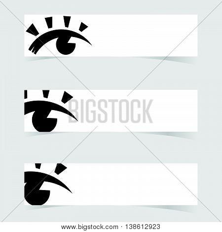 Banner With Eye Icon Design Set Art Illustration