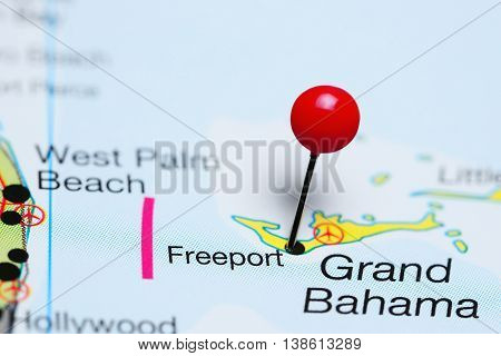 Freeport pinned on a map of Bahamas