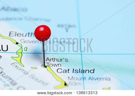 Arthurs Town pinned on a map of Bahamas