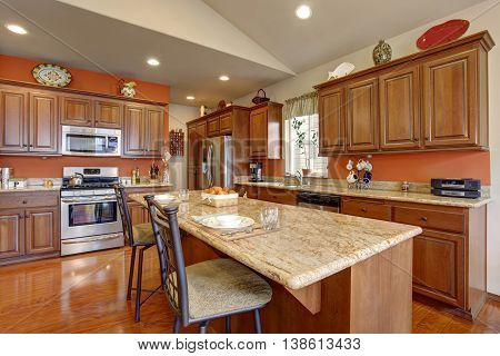 Brown Kitchen Room Interior With Granite Counter Tops And Steel Appliances.