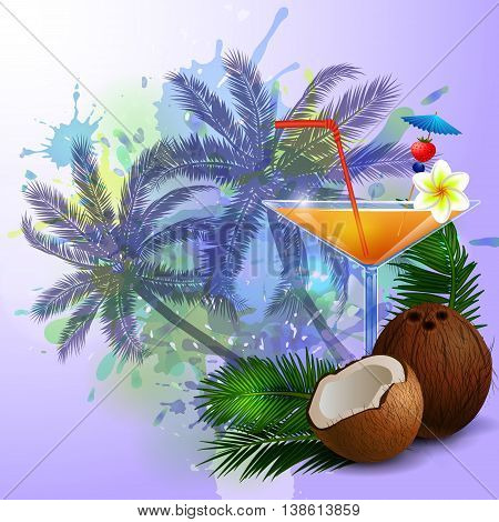 Summer background with palm trees and cocktail glass on abstract inkblot splash with straw coconut and flower