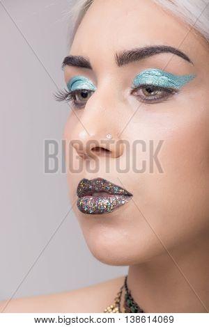 Girl Portrait Eccentric Make Up Close Up