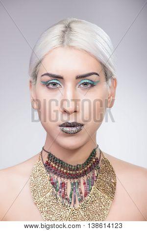 Girl Portrait Eccentric Make Up Necklace