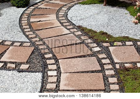 Background of garden design. Landscaping in park with tiles trail