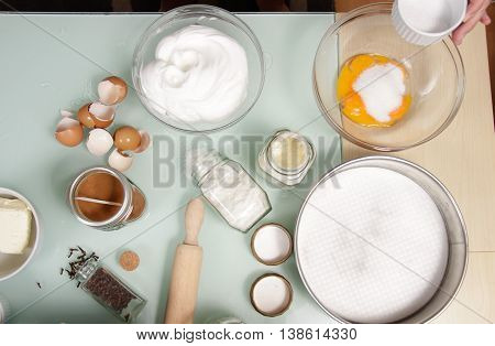 Elevated View Ingredients Broken Eggs Yolk White Bowl