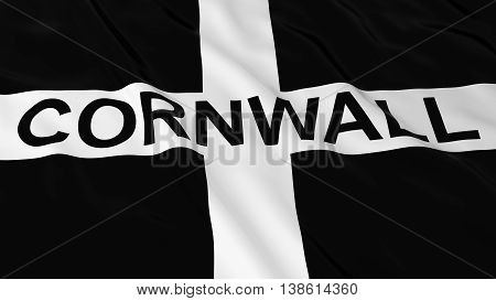 Cornish Flag With Cornwall Text 3D Illustration