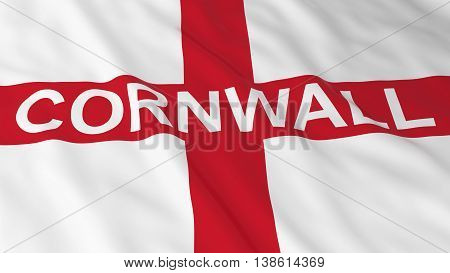 English Flag With Cornwall Text 3D Illustration