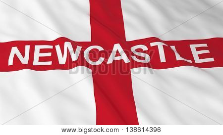 English Flag With Newcastle Text 3D Illustration