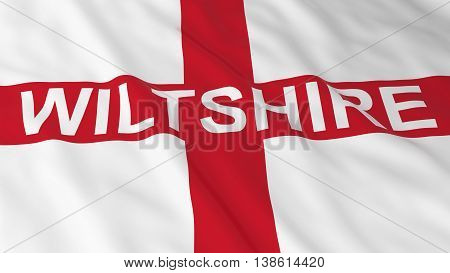 English Flag With Wiltshire Text 3D Illustration