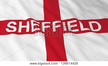 English Flag With Sheffield Text 3D Illustration