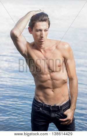 Bright White Sunlight Outdoors Model Posing Water  Background