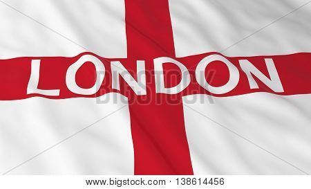 English Flag With London Text 3D Illustration