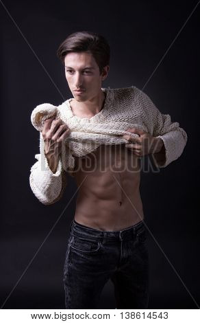 Nude Young Man Caucasian Skinny Slim Fit Abs
