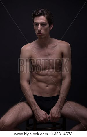 Nude Young Man Posing Model Sitting Caucasian Skinny Slim  Fit Abs