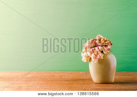 Bouquet of withered roses in vase on green background.