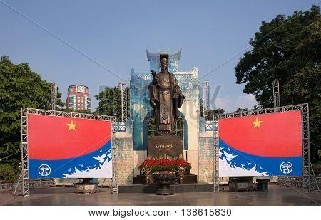 HA NOI, VIET NAM, April 30, 2016 King Ly Thai To monument, downtown Ha Noi, Vietnam