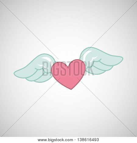 angel wings religion heart love card   isolated, vector illustration eps10