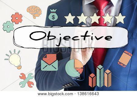 Objective Drawn On Virtual Board By Businessman