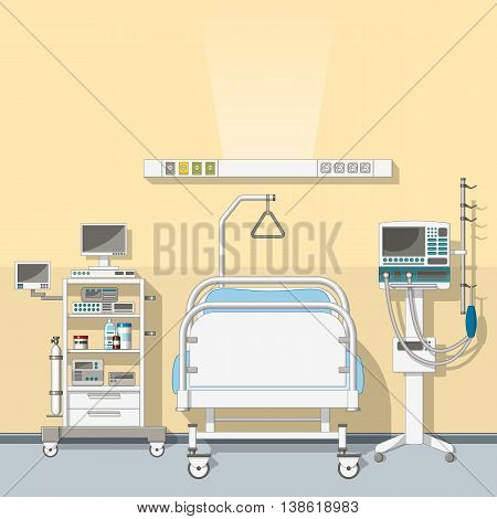 Illustration an modern  intensive care unit with bed