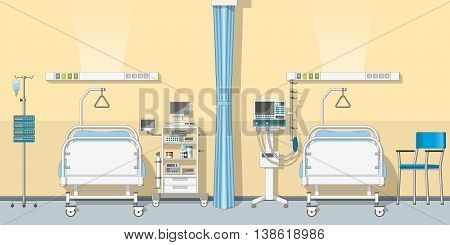 Illustration an modern intensive care unit with two beds