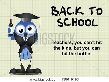 Comical reluctant inebriated teacher having to go back to school on graph paper background