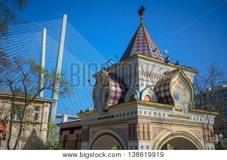 Arc de Triomphe in city Vladivostok, Russia