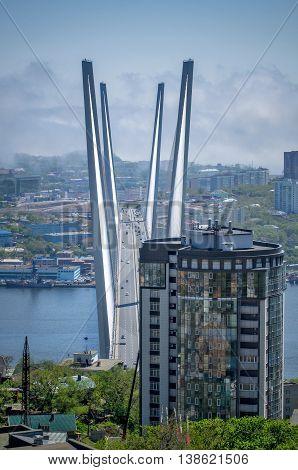 The Golden Bridge in city Vladivostok, Russia