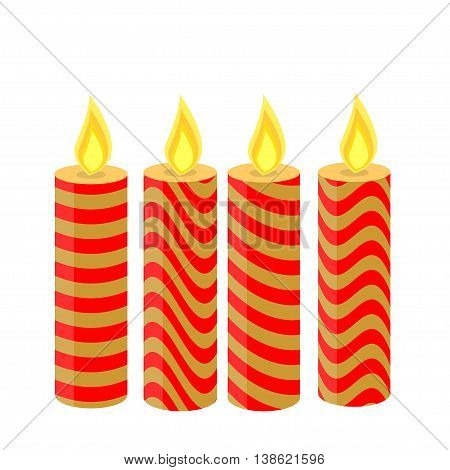 Christmas candles of different colors, isolated, 4 pieces