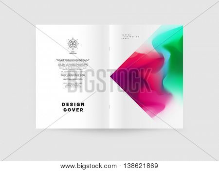 Business Abstract Template Background. Watercolor Splashes. Brochure Layout for Annual Report or A4 Booklet. Vector Illustration.