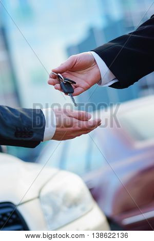 Buying a new car in auto show or salon