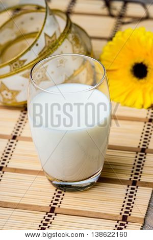 Glass of fresh milk and yellow gerber