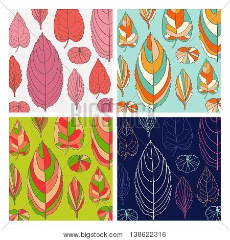 Set of pattern with autumn leaf. Abstract leaf texture, endless background. pattern can be used for wallpaper, pattern fills, web page background, surface textures