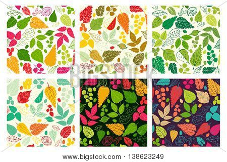 Set of six Seamless Pattern With Leaf. Abstract leaf texture, endless background.Seamless pattern can be used for wallpaper, pattern fills, web page background, surface textures