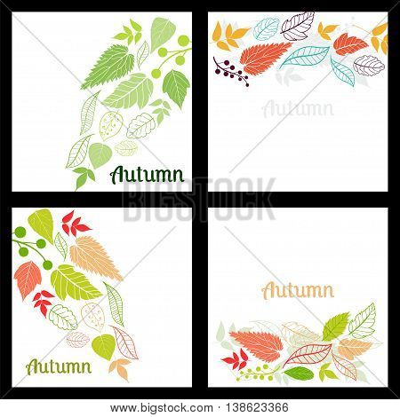 Set of Four Seamless Pattern With Leaf. Abstract leaf texture, endless background.Seamless pattern can be used for wallpaper, pattern fills, web page background, surface textures.