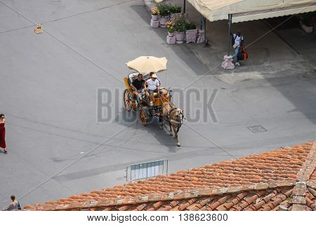 Pisa Italy - June 29 2015: Horse-drawn carriage on Piazza del Duomo. Province Pisa Tuscany region of Italy