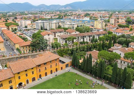 Pisa Italy - June 29 2015: View of the city from the Leaning Tower. Province Pisa Tuscany region of Italy