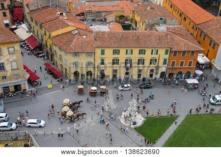 Pisa Italy - June 29 2015: View of Piazza del Duomo from the Leaning Tower. Province Pisa Tuscany region of Italy