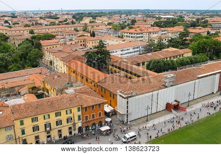Pisa Italy - June 29 2015: View of the old city from the Leaning Tower. Province Pisa Tuscany region of Italy
