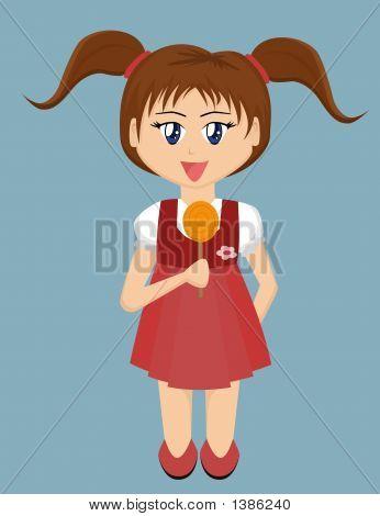 Cartoon Girl With Lollipop