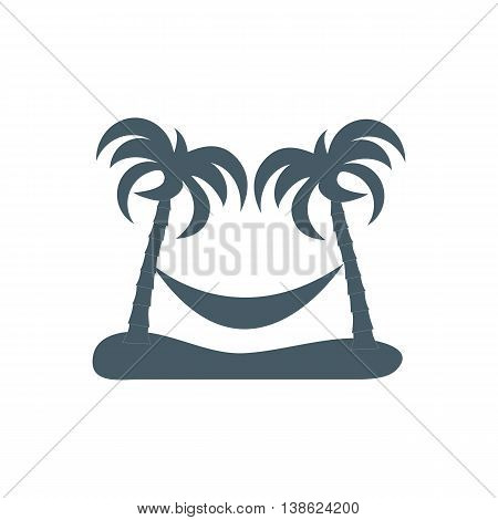 Stylized Icon Of Rest In A Hammock Under Two Palm Trees
