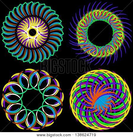 Rainbow round ornaments. Ornament for texture pattern or background
